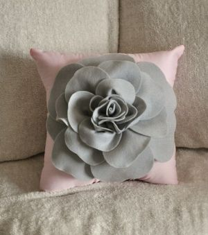 Grey And Pink Pillow By Kawaiiakai Pink Pillows Flower
