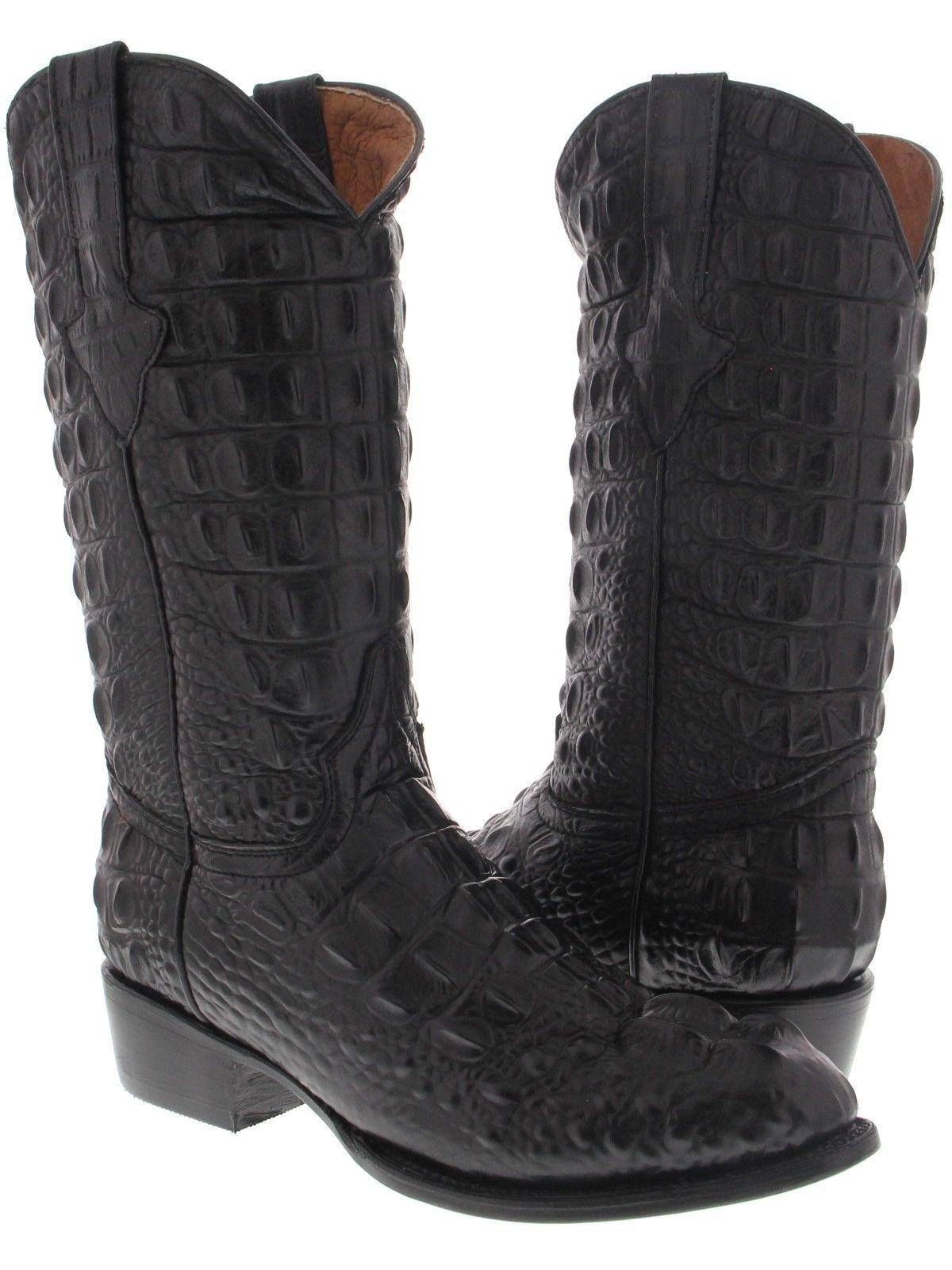 Mens Brown Full Crocodile Hornback Print Western Cowboy Boots Round Toe