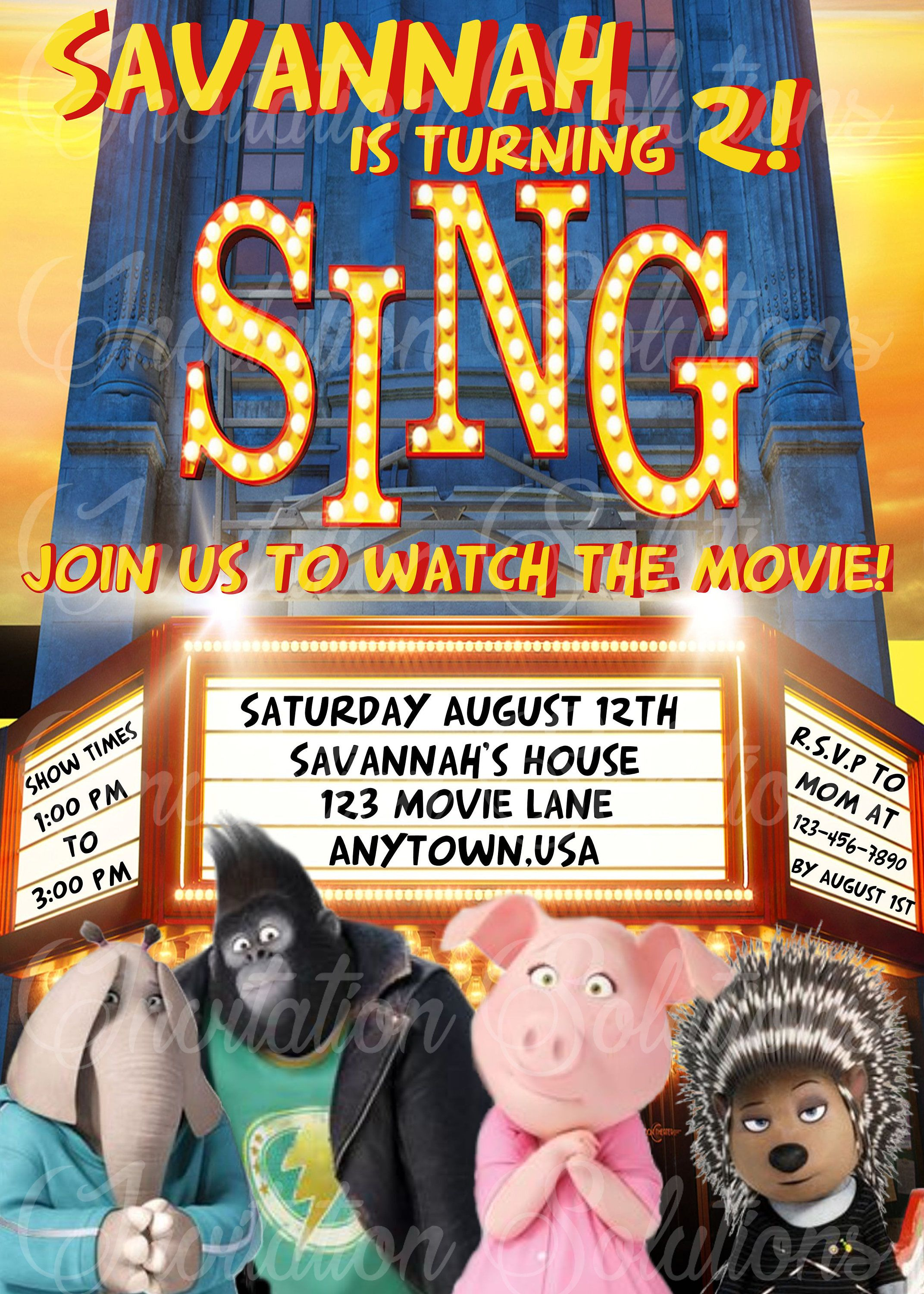 Sing Birthday Party Invitation/ The Movie Sing Themed Party ...