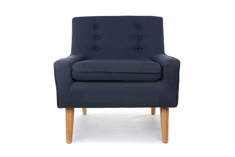 Homesave New Oslo Fabric Modern Accent Chair Armchair Denim Blue