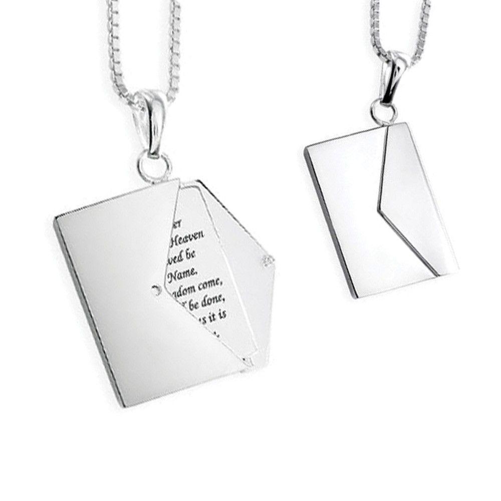 Memorial Locket Sterling Silver Message Envelope Keepsake Necklace - TM Keepsake | Treasured Memories Cremation Jewelry