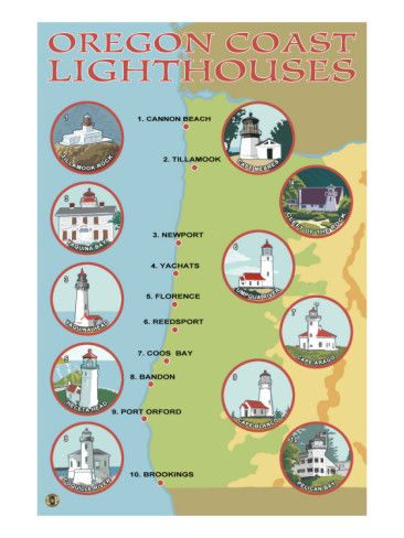 'Oregon Coast, View of the Coastal Lighthouses' Poster - Lantern Press | AllPosters.com