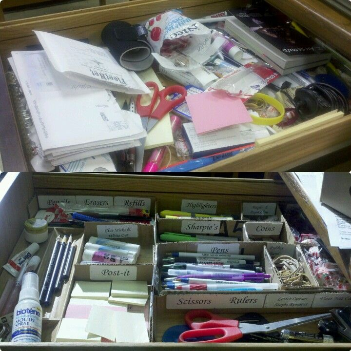 I feel so much better to have this drawer at work organized. The only thing I used was cardboard, staples, tape, and address labels. Love it