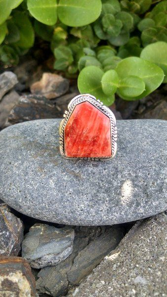 Orange Spiny Oyster Double Stacked Cut Out Ring | SUNFACE TRADERS