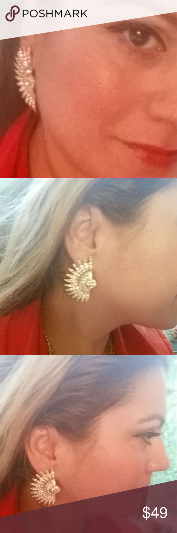Elegant fan pave with cz earrings  very beautiful This are earrings  that you won't see very  common. So beautiful  .Not to heavy and they definitely enhance your elegance. Jewelry Earrings