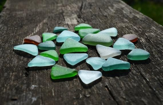 Photo of Triangle sea glass 22 pcs, Authentic beach glass for craft, Sea glass supply frame art, Beach glass pendant, Untreated Jewelry supply