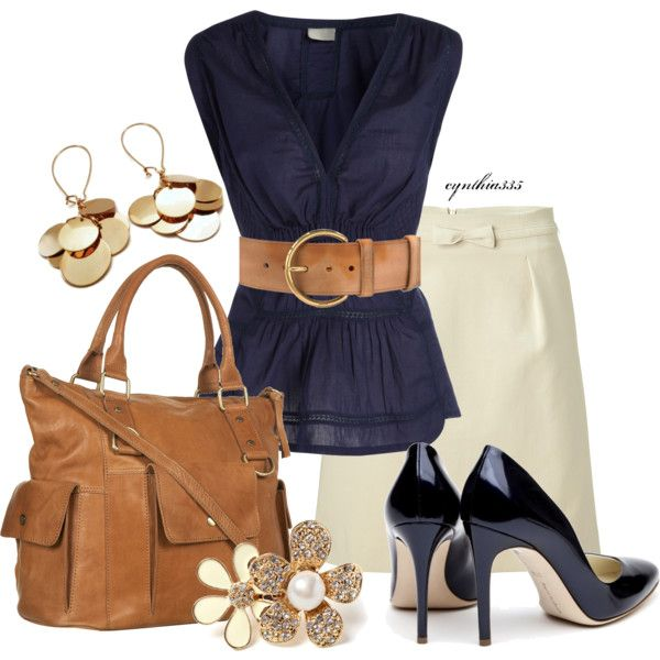 Skirt Outfit (Navy + Tan) except the shoes.should be that camel like the  belt and purse.