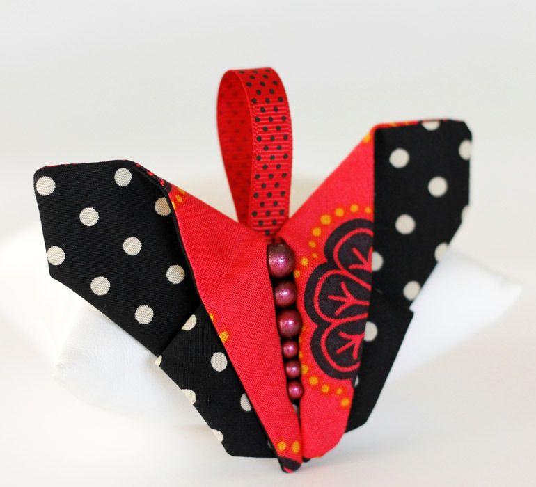 Porte-clés, papillon origami, tissu et perles : Porte clés par cabochon-chic