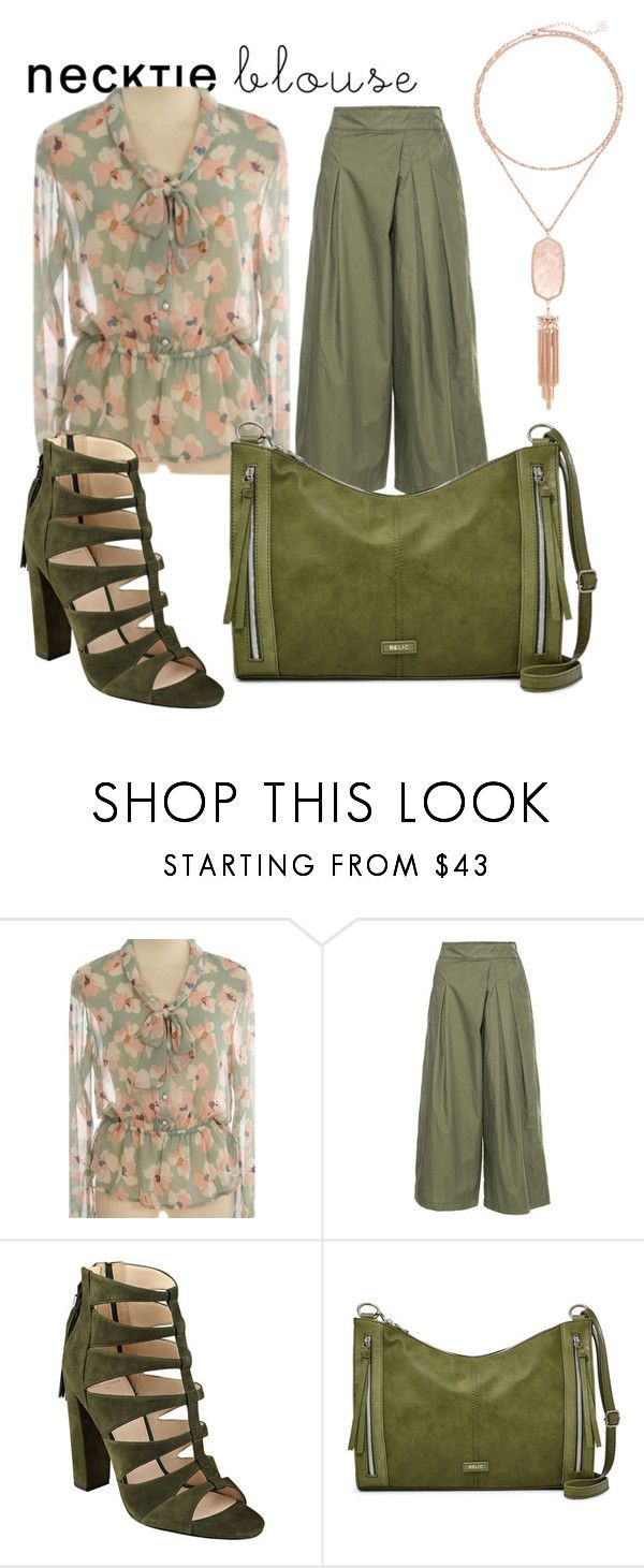 """""""necktie blouse"""" by shannongarner ❤ liked on Polyvore featuring Front Row Shop, Relic and Kendra Scott"""