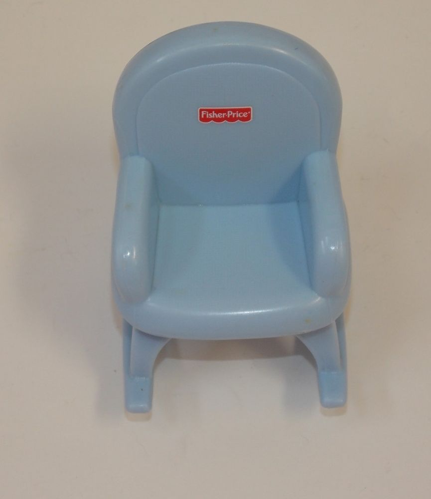 Fisher Price My First 1st Dollhouse Doll House Blue Nursery Rocking Chair #FisherPrice