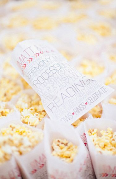 12 Clever Ceremony Program Ideas Snack Bags For Fresh Popcorn Or Homemade Cookies Photo