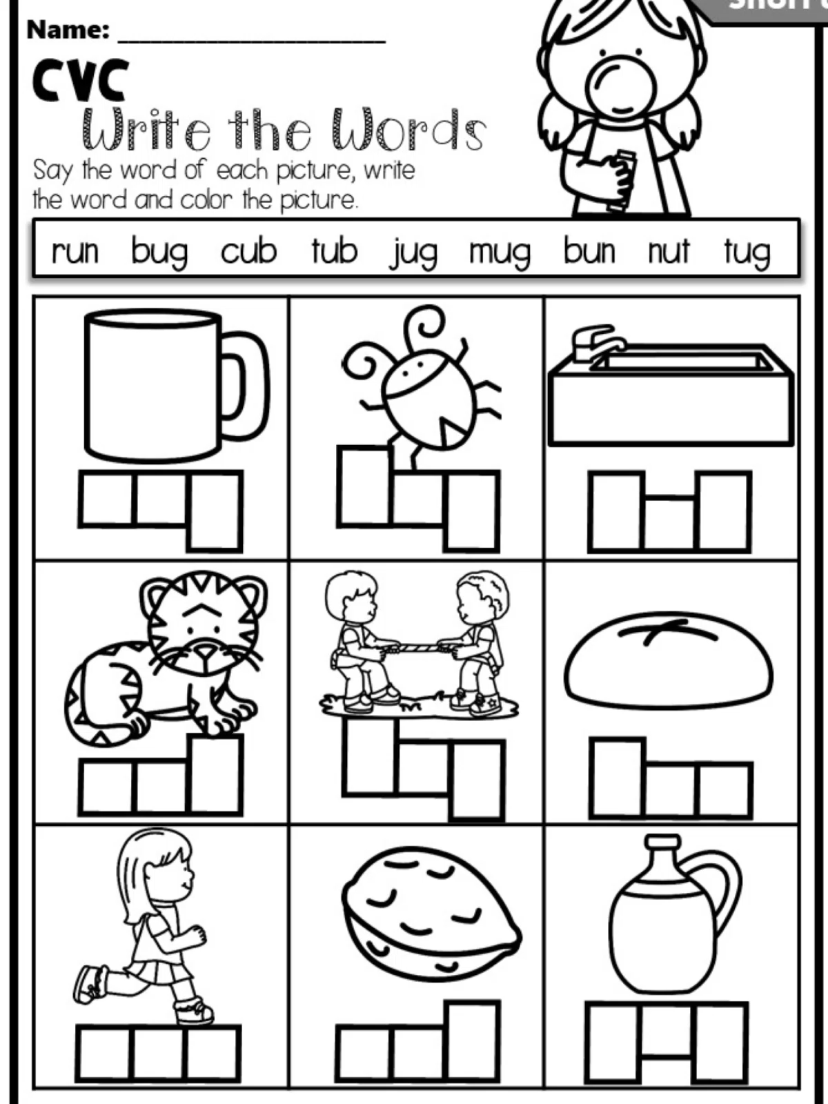 Phonics Worksheets CVC Write the Words for Kindergarten and First Grade