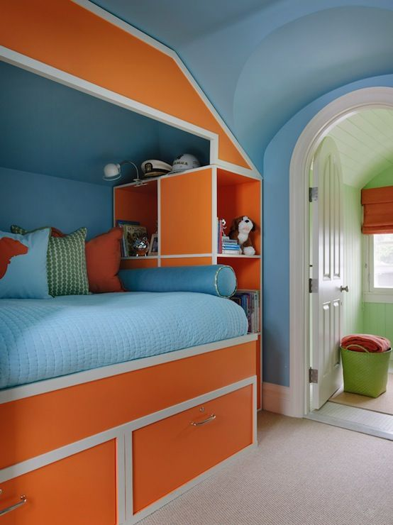 Kendall Wilkinson Design: Bright Kids Bedroom With Blue Walls And Orange  Bed With White Trim