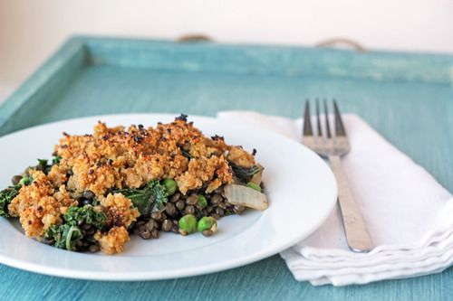 Lentil and Greens Casserole with Millet-Amaranth Crust  click...