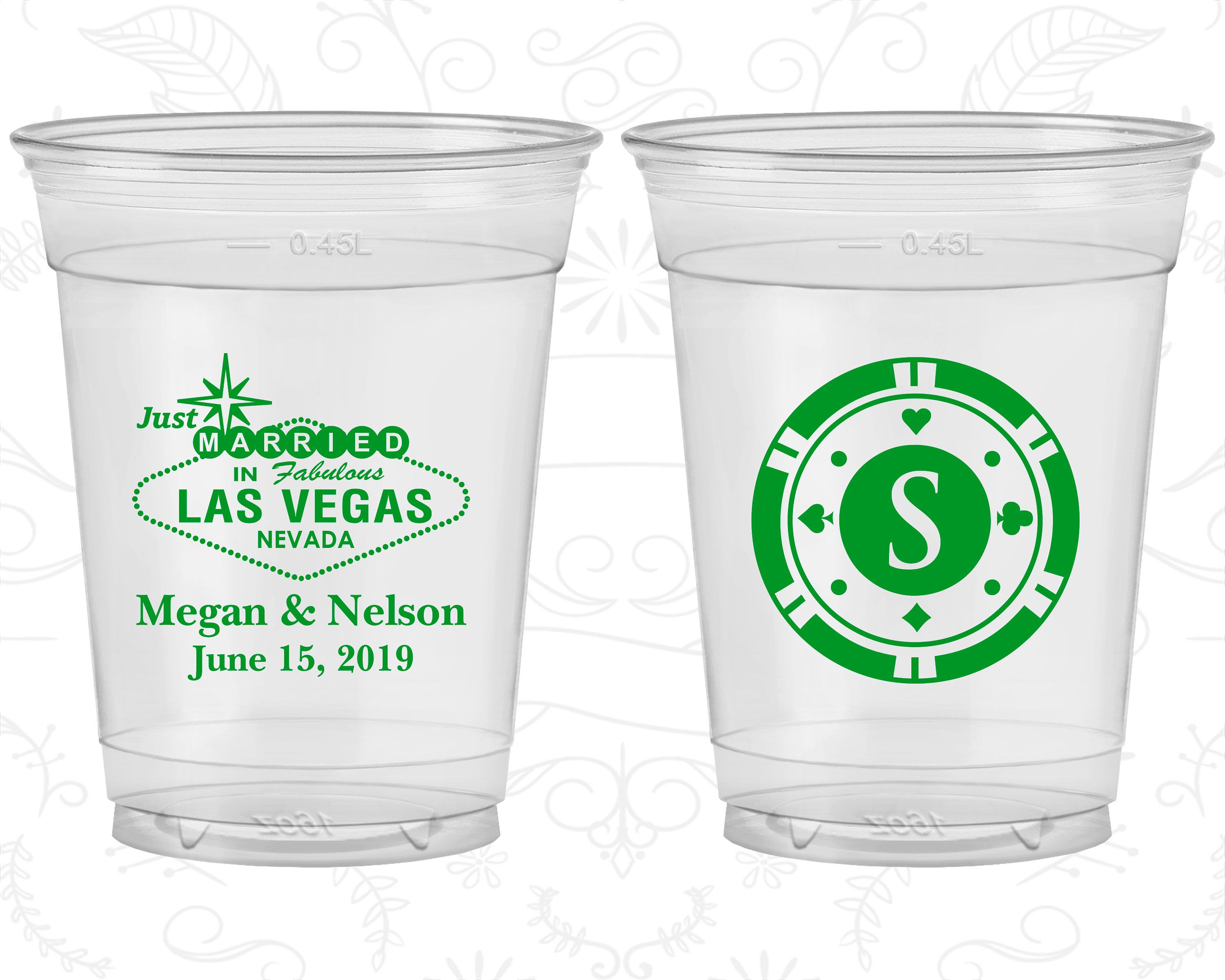 Las Vegas, Wedding Favor Soft Sided Cups, Just Married, Monogram ...