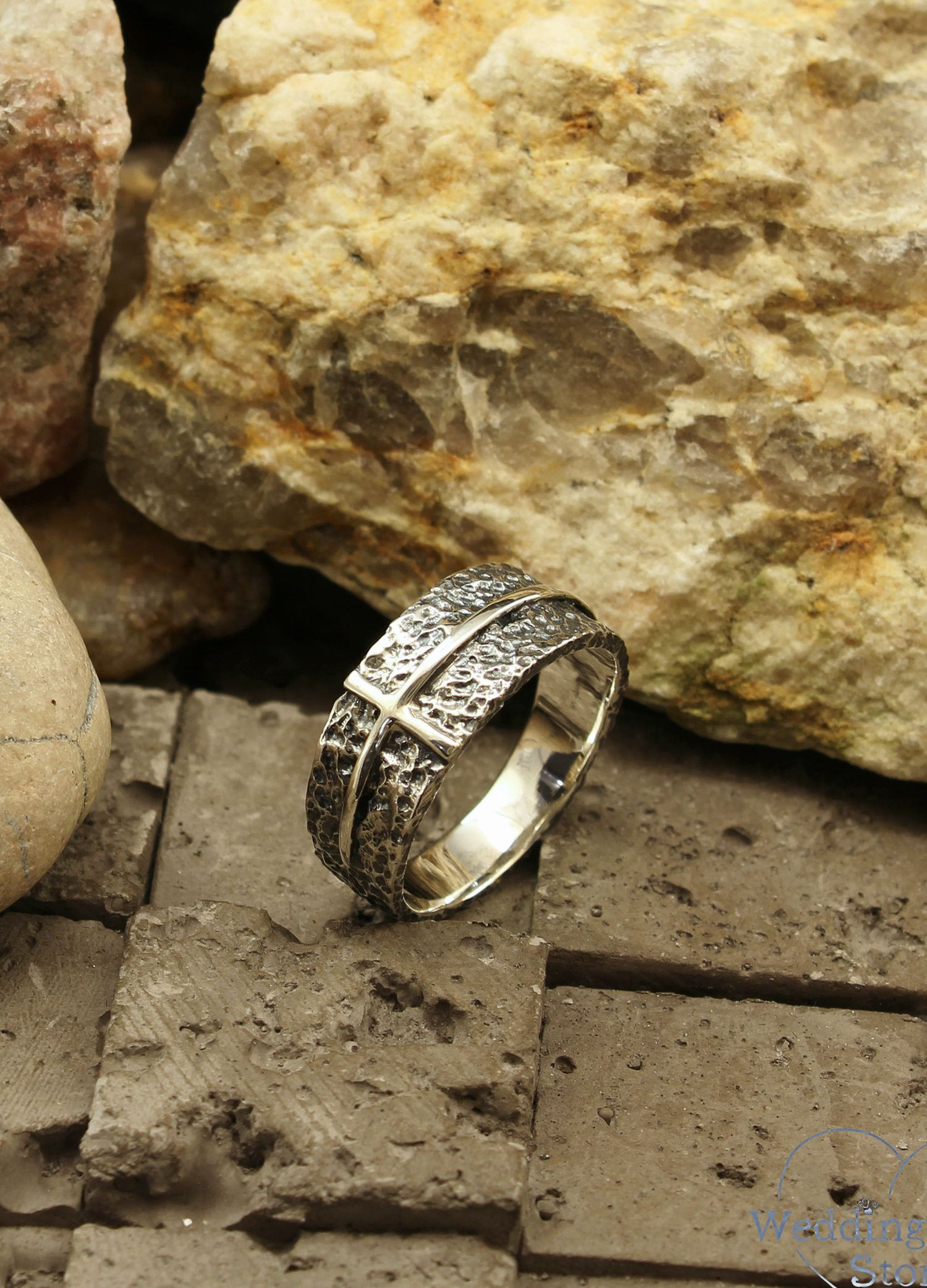 Wide hammered wedding band with cross, Cross wedding ring