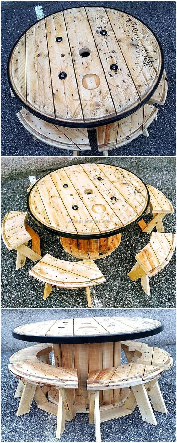 pallets wood cable spool furniture idea palletoutdoorfurniture