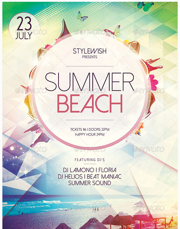 summer beach flyer party flyer templates for clubs business m