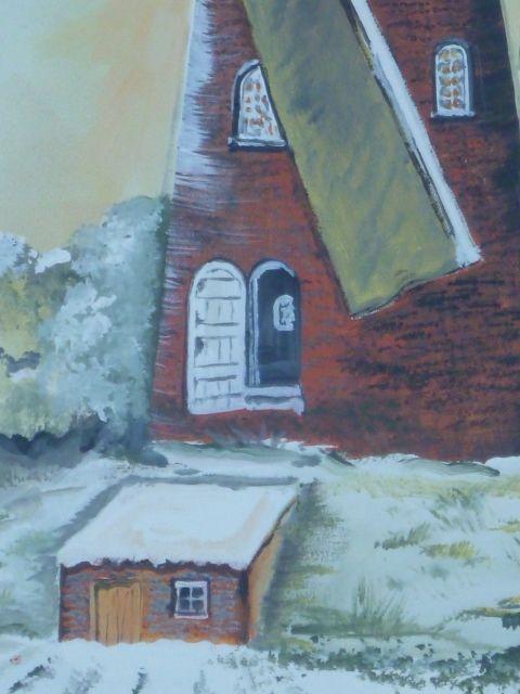 Windmill detailed look 2  ...  Christmas, winter, painting, Belgium, Asterweg, window painting, Jef Geens