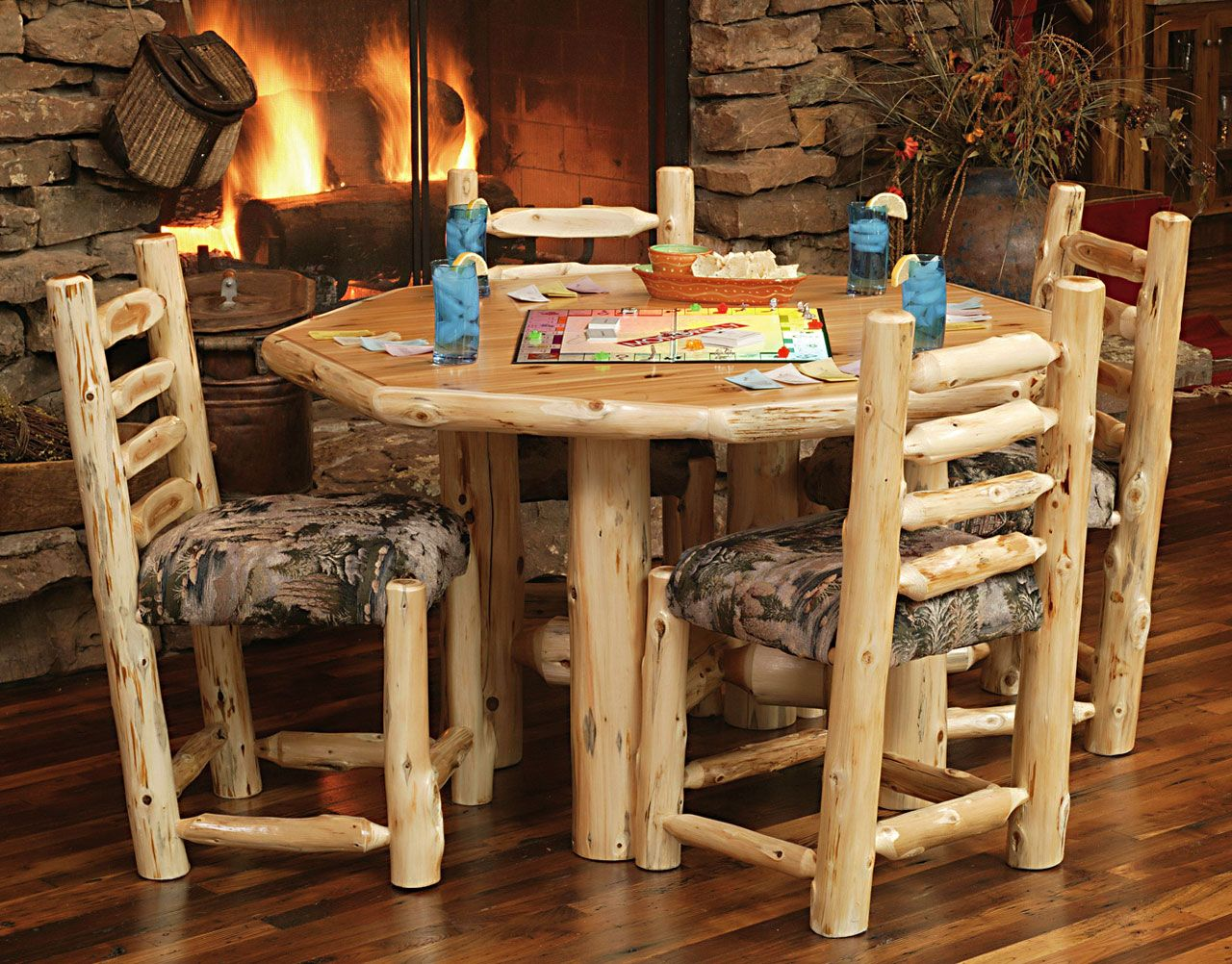 Custom Log Dining Room Tables | ... Diner With Upholstered Seat | Rustic  Furniture