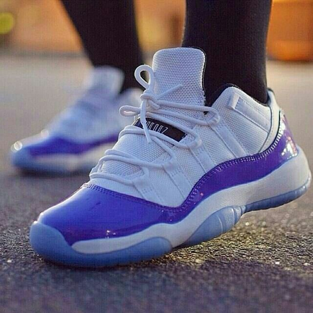 with her custom purple Jordan 11 Lows. How many of you like to rock purple  kicks?