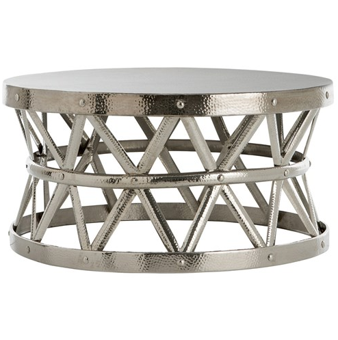 pay 4 less ~overstock hammered drum cross silver coffee table