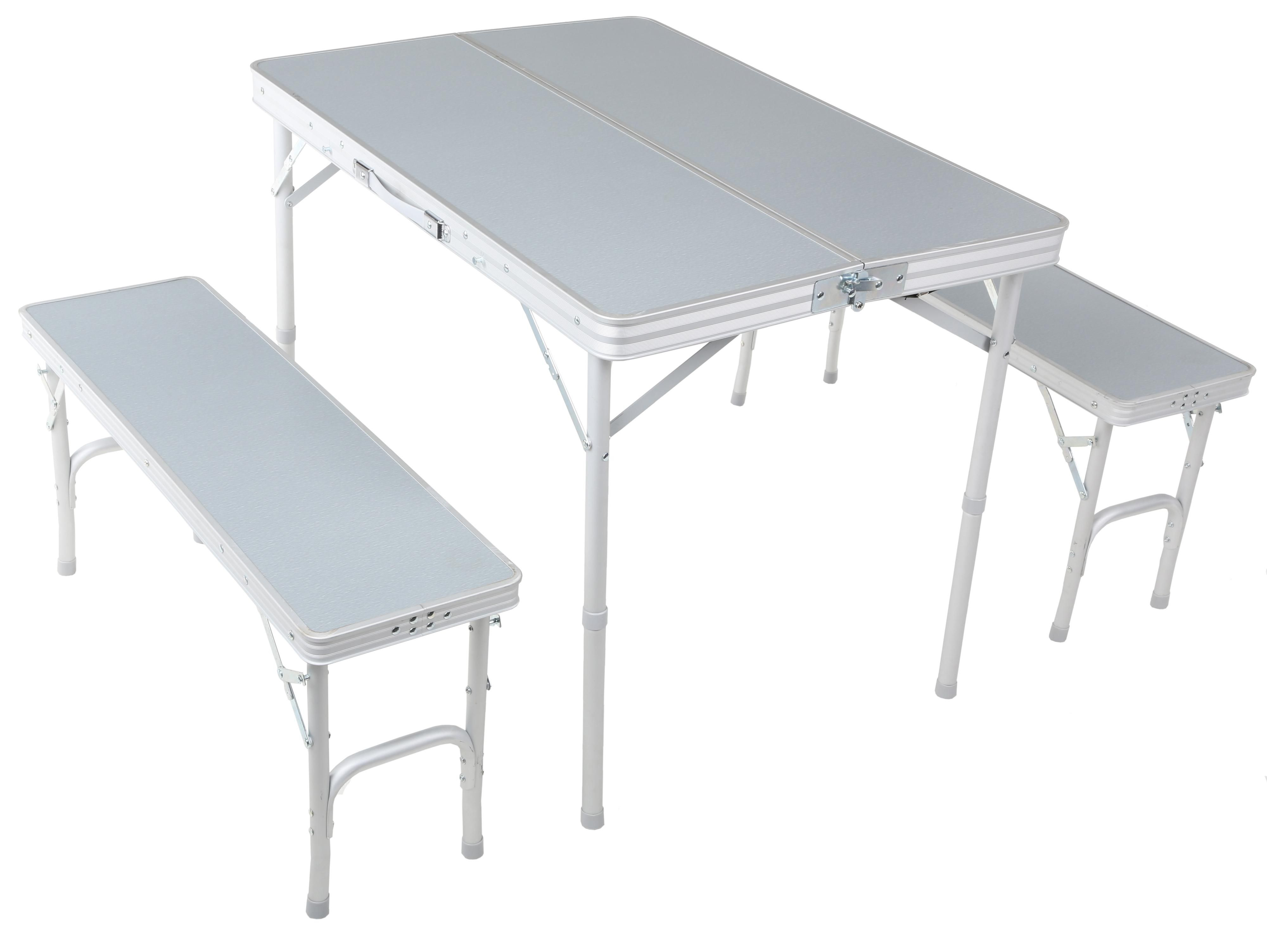 Good Urban Escape Folding Table And Bench Set Folds Down Into A Single Carry  Case.