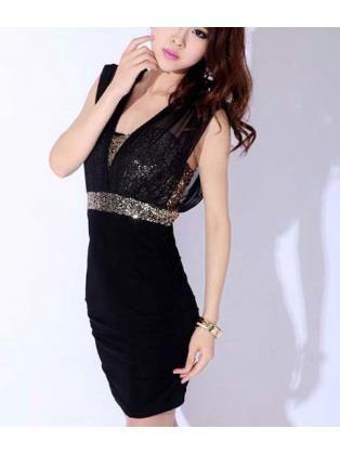 8a2c01fde40 Sequins Black Above Knee Club Dress