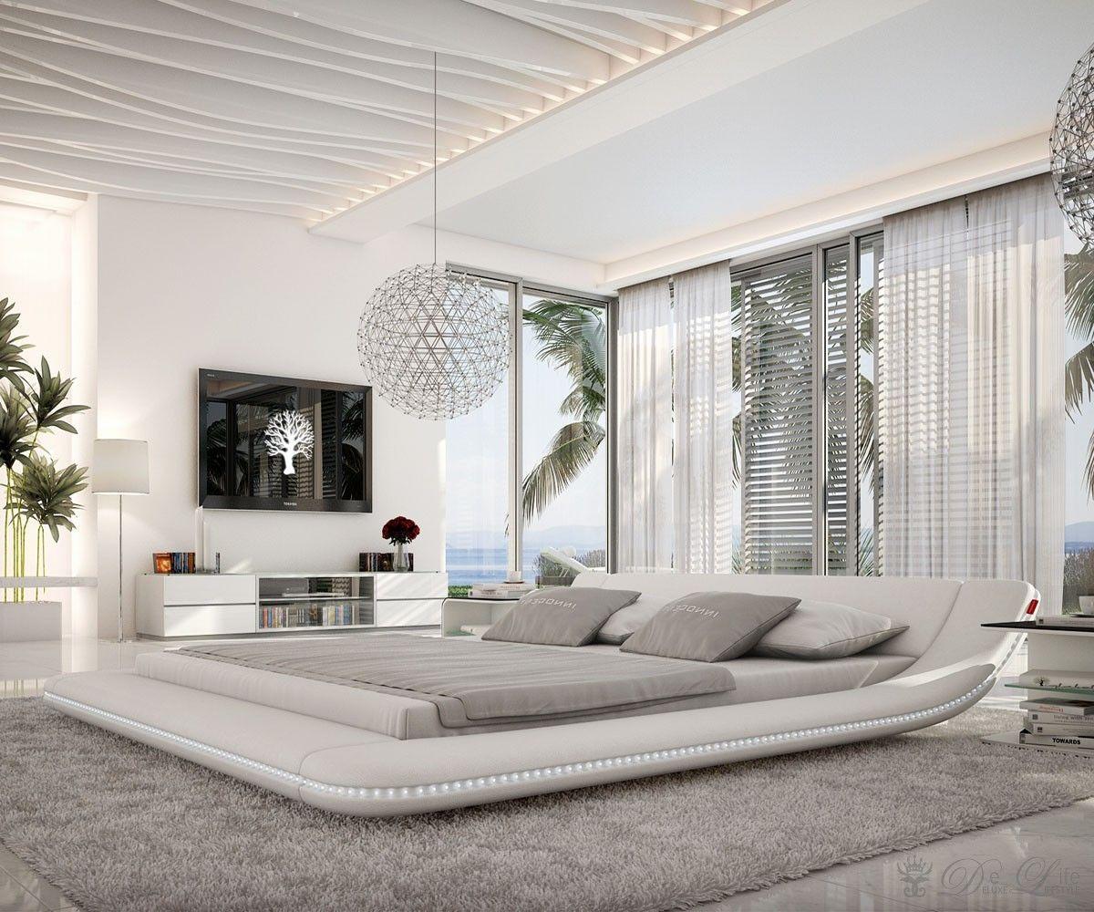 DELIFE.eu   Polsterbett Perfecta 180x200cm Weiss LED Beleuchtung Möbel  Betten Polsterbetten