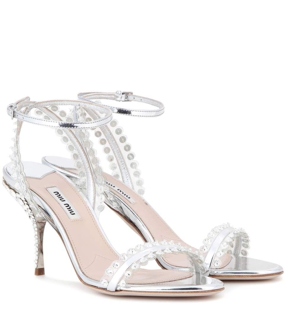 Miu Miu Women's Embellished Metallic Sandal DKduyXFdn