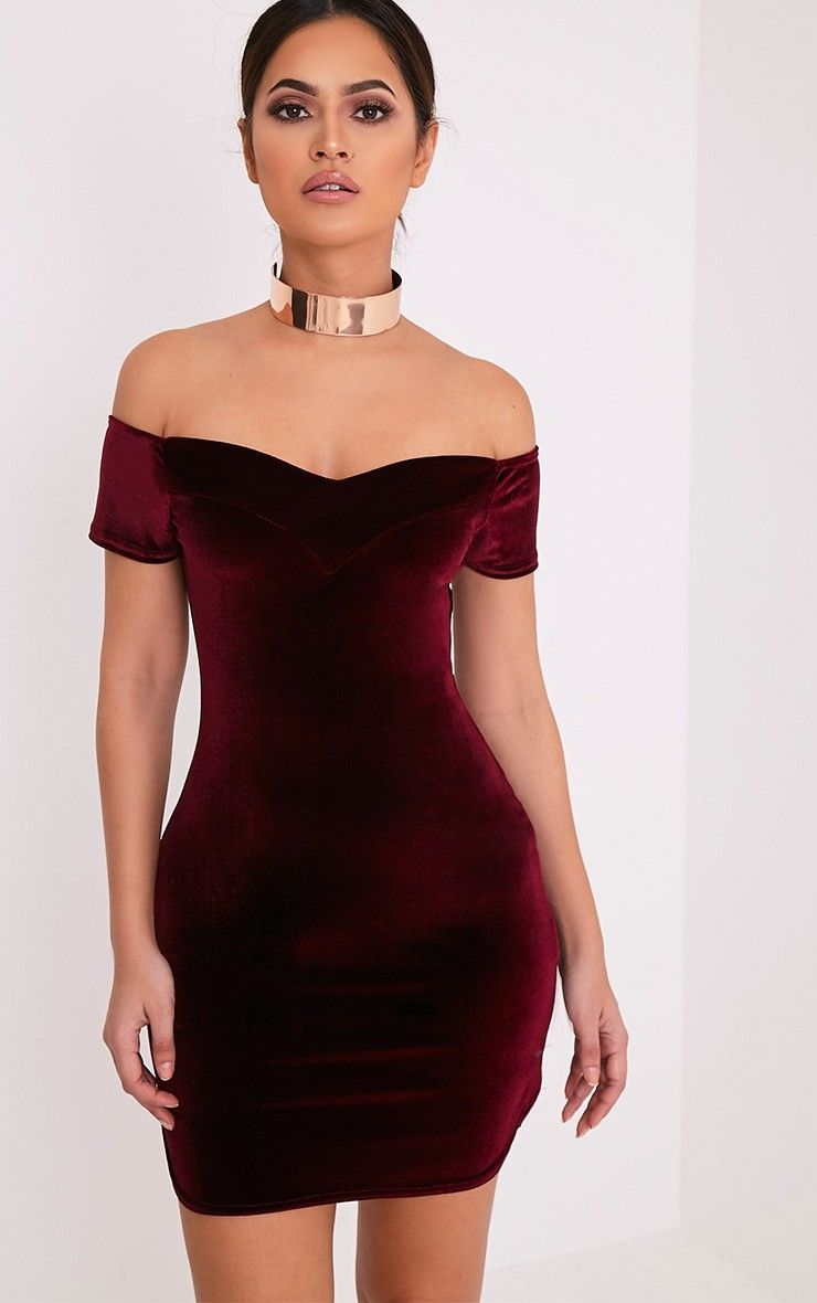 Gina Burgundy Velvet Bardot Bodycon Dress Image 1 | Dresses ...