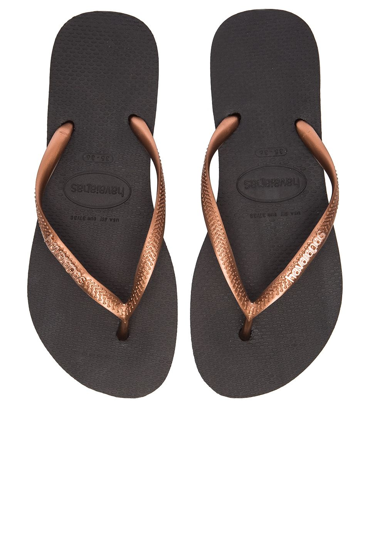 d6fefd38448b Havaianas Slim Logo Metallic Flip Flop in Black   Copper
