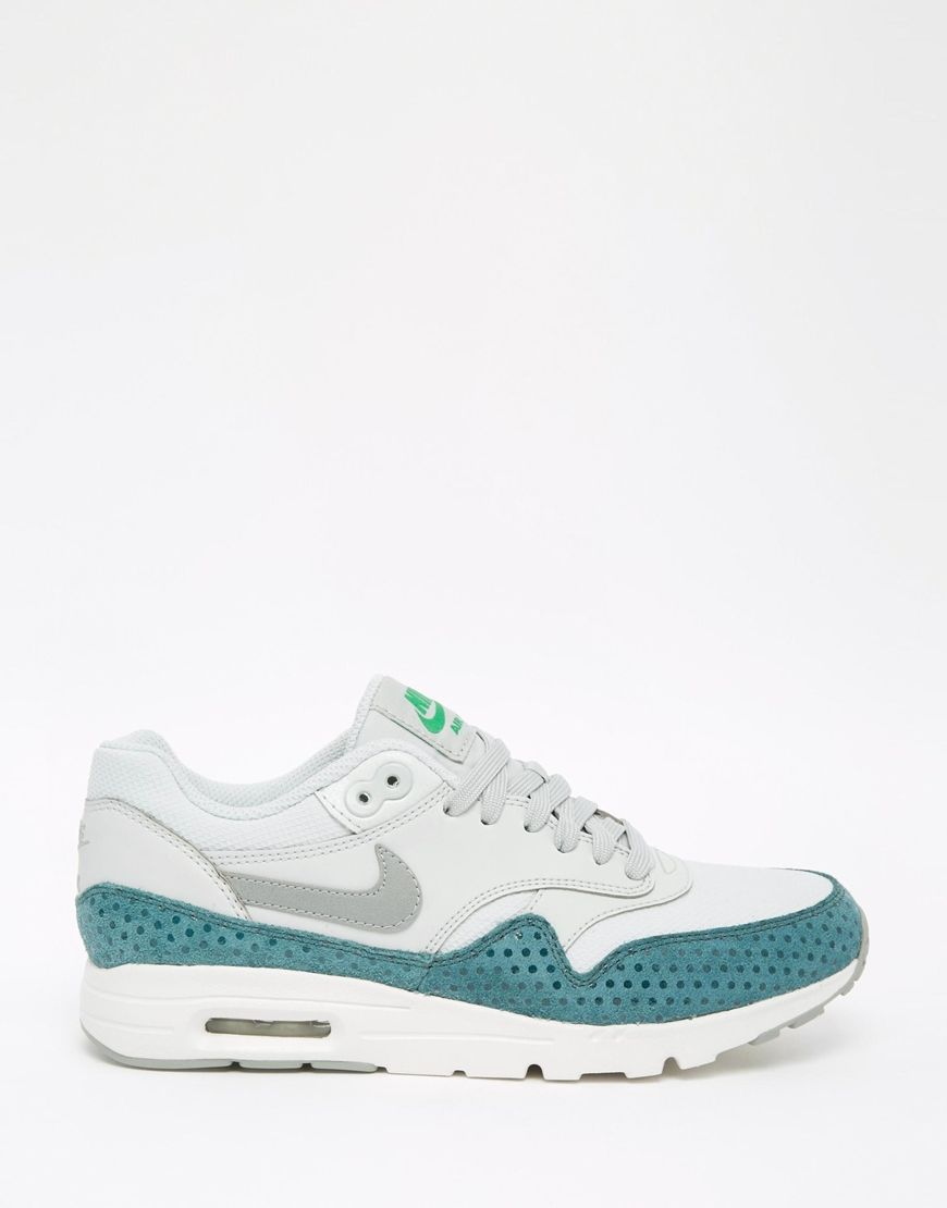 Image 2 of Nike Silver & Turquoise Air Max 1 Ultra Essentials Trainers