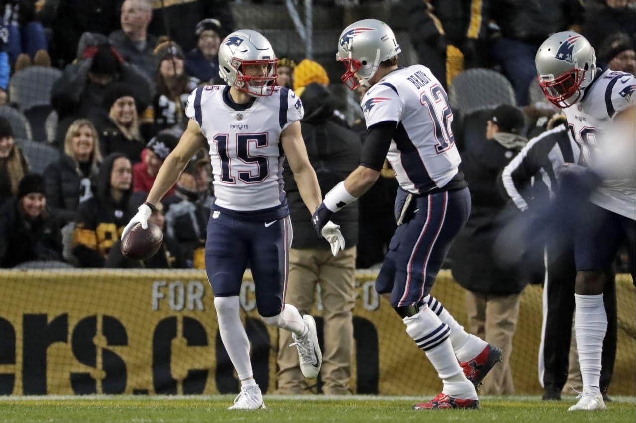 New England Patriots Quarterback Tom Brady 12 And Wide Receiver Chris Hogan 15 Celebrate A Touchdown During The Fir Patriots Steelers Patriots Quarterbacks