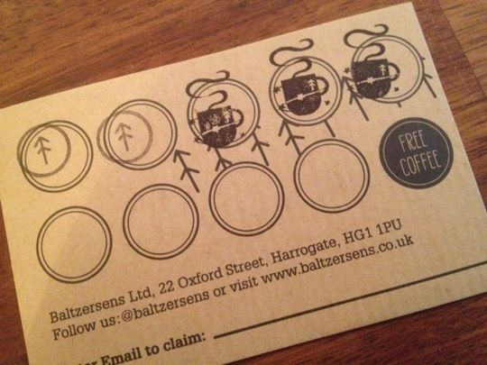 A Coffee Loyalty Card With Two Types Of Ink Stamp