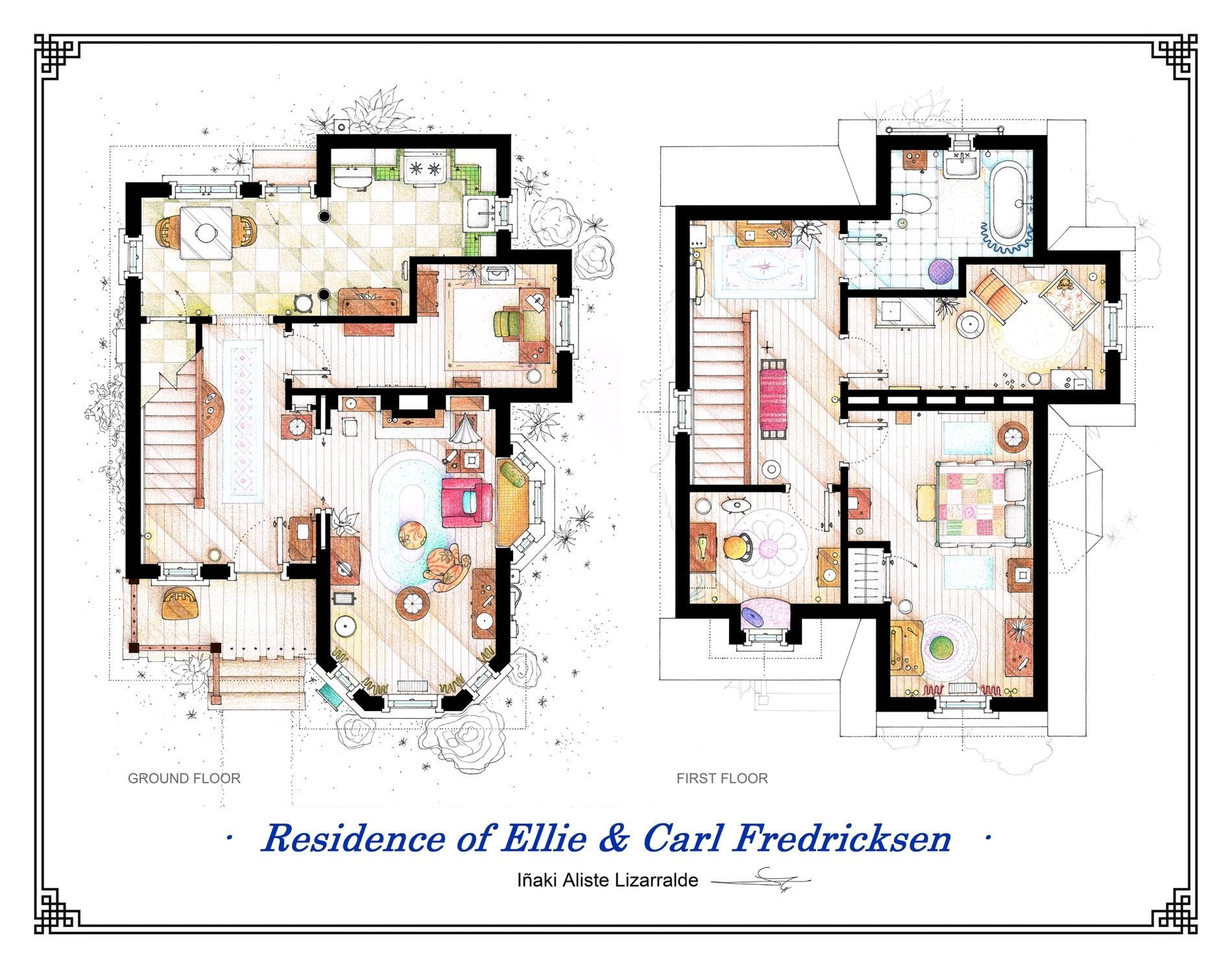The House From Up Poster With The 2 Floorplans Etsy Floor Plans House Floor Plans Floor Plan Drawing