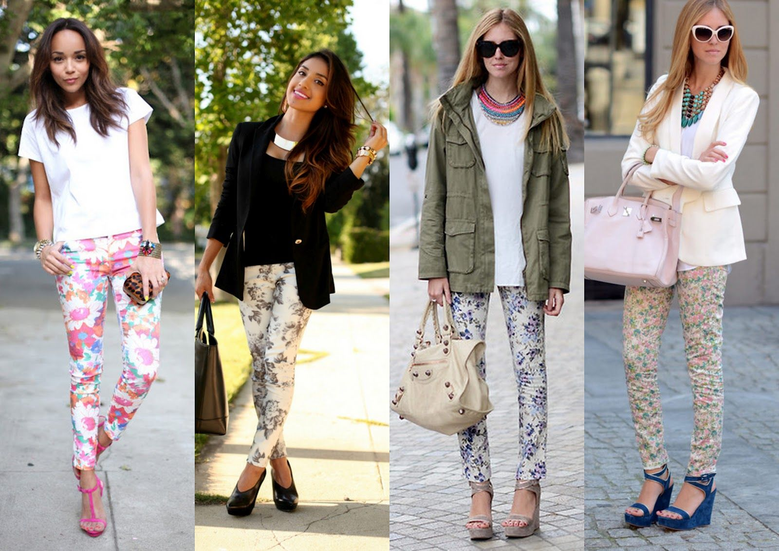 How to floral wear printed jeans pictures
