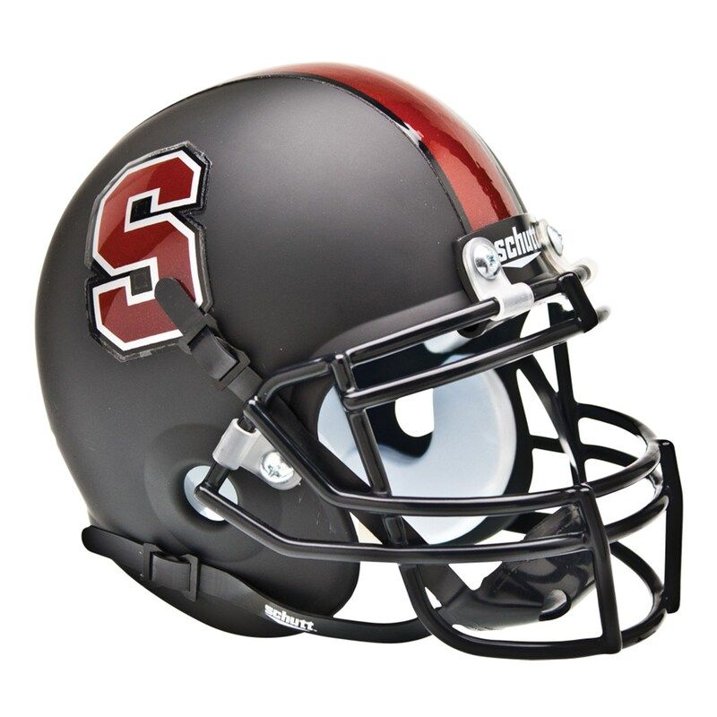 Schutt Stanford Cardinal Matte Black Mini Football Helmet In 2020 Mini Footballs Mini Football Helmet Football Helmets