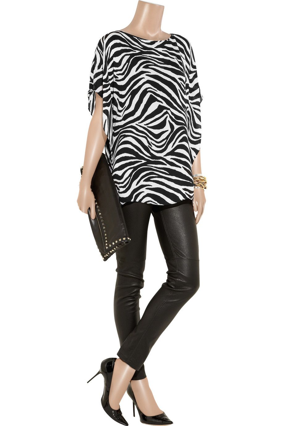 Zebra print silk georgette top by MICHAEL Michael Kors