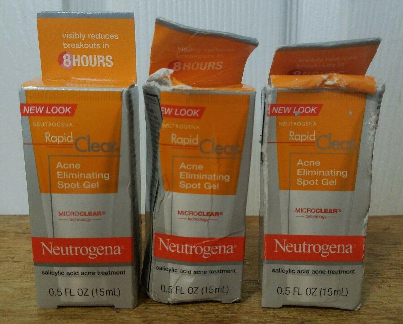 X3 Neutrogena Rapid Clear Acne Eliminating Spot Gel 0 5oz Exp