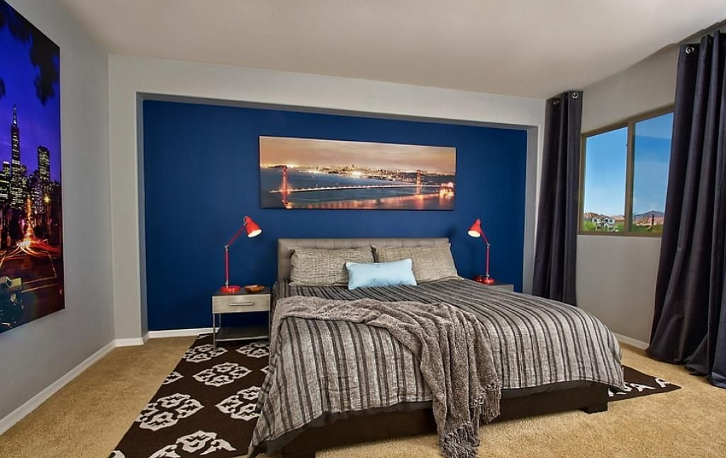 masculine bedroom for men with blue wall decor 20 Amazing Bedroom for Men