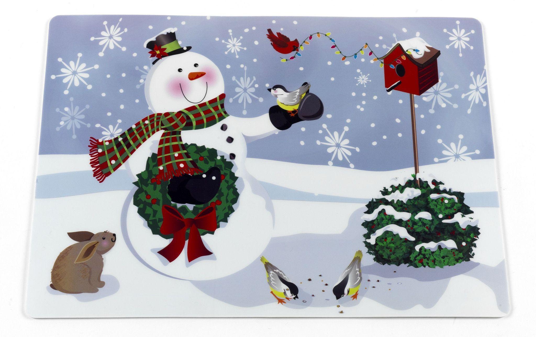 Santa's Milk 'N Cookies Set of 2 Expanded Foam Vinyl Placemat - Snowman