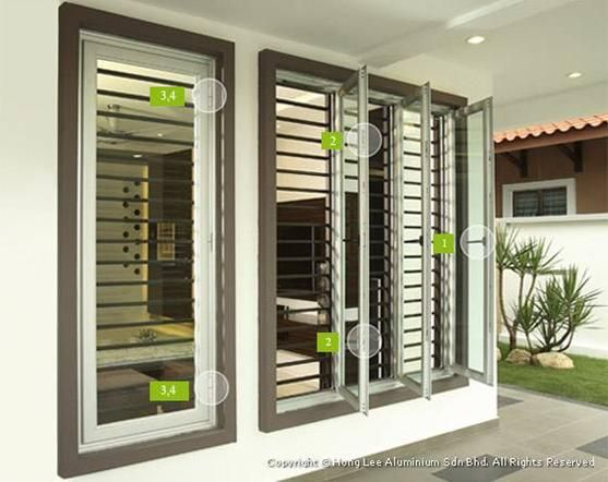 Buy aluminium sash window door n grill pinterest for Door design johor bahru