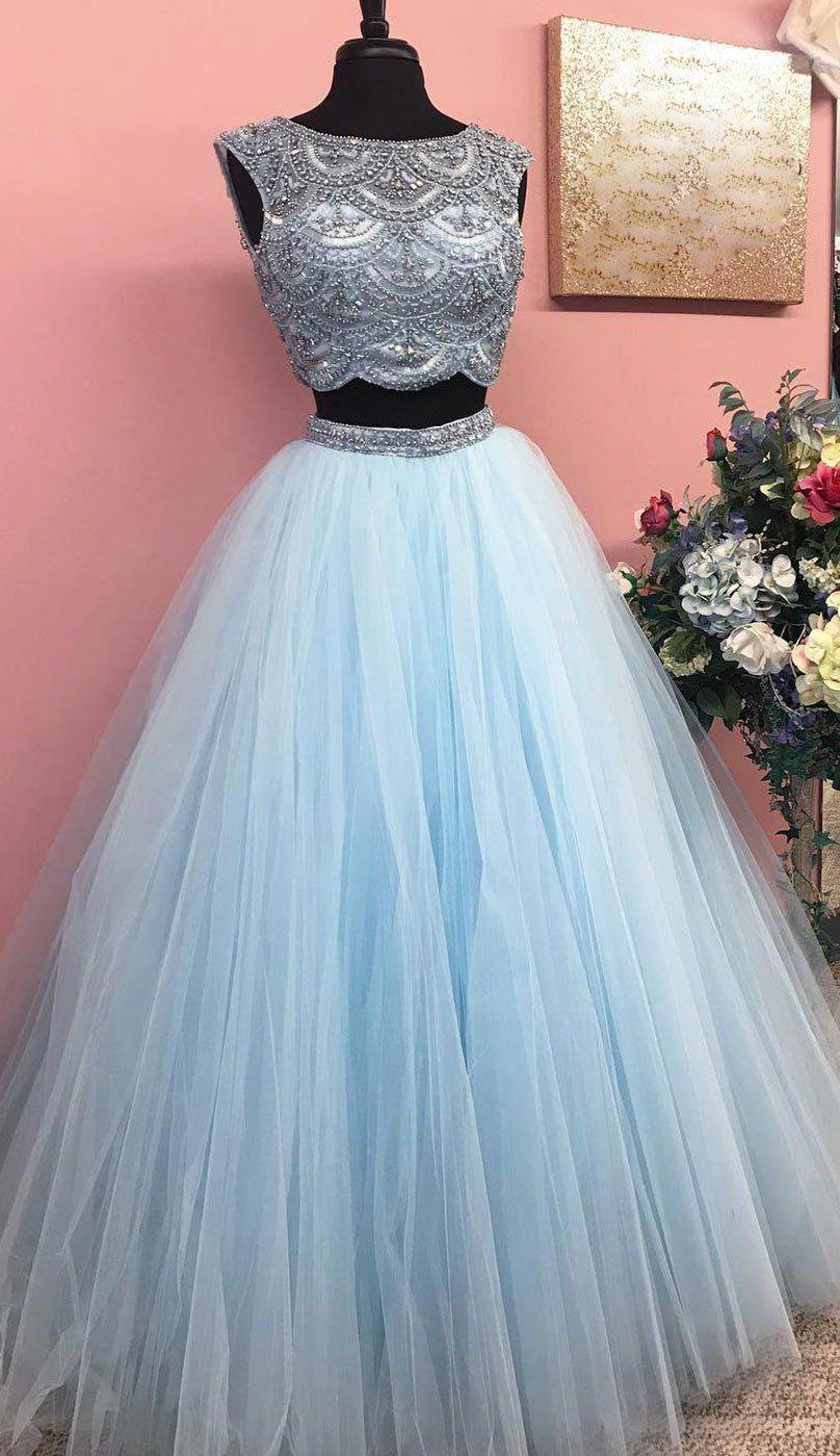 Blue beads tulle long prom dress blue evening dress