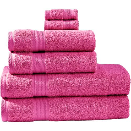 Divatex 6 Piece Bath Towel Set Need Pink And Black Towel Set