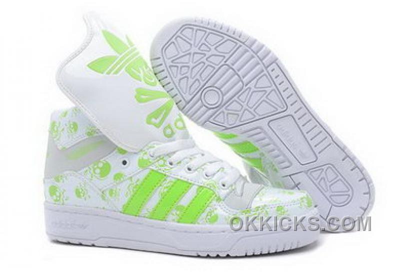 b89c7593e103 wow~ Jeremy Scott M Attitude Logo Womens Adidas Originals Skull GID Shoes  White Green
