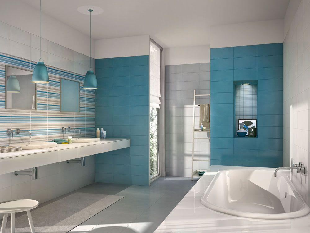 piastrelle bagno azzurre e bianche - Cerca con Google  Home sweet home  Pinterest