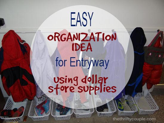 Easy Organization Idea for Entryway For Shoes and Accessories Using Dollar Store Supplies