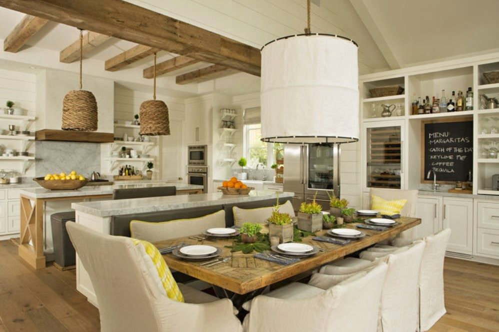 Rustic style white theme kitchens from sports car makers with rattan materials brown theme two pendant lamps and minimalist kitchen island that have marble