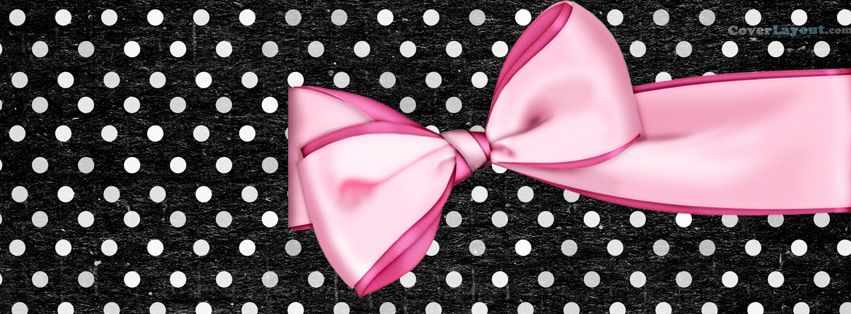 Pink Bow Polka Dots White And Black Facebook Cover Coverlayout Com